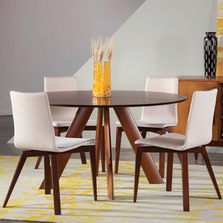 Saloom Eden 54 Round Maple Strata Texture Top Dining Table in Walnut Finish Wood