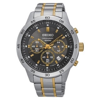 Seiko Men's SKS525 Stainless Steel Chronograph Watch with a Black Dial and 100M Water Resistance