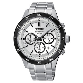 Seiko Men's SKS531 Stainless Steel Chronograph Watch with a Silver Dial and 100M Water Resistance
