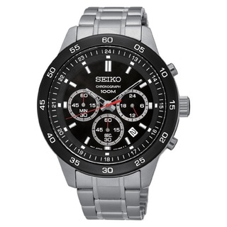 Seiko Men's SKS527 Stainless Steel Chronograph Watch with a Black Dial and 100M Water Resistance