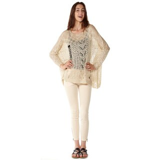 Dinamit Junior Loose Open Knit Khaki Pullover Sweater