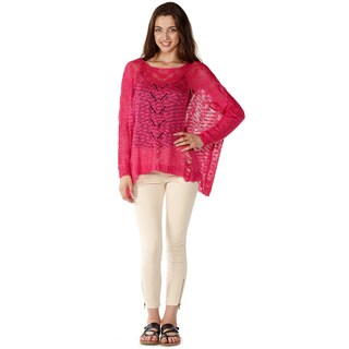 Dinamit Junior Loose Open Knit Pink Pullover Sweater