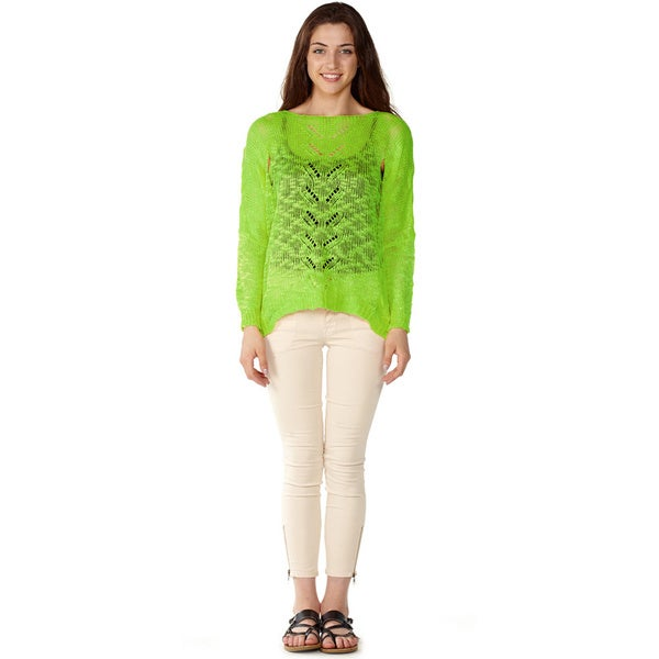 Dinamit Junior Loose Open Knit Green Pullover Sweater