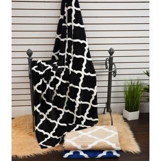 Anna Ricci Quatrefoil Velvet Plush Heavy Fleece Throw