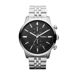 Fossil Men's Stainless Steel Townsman Black Chronograph Dial Watch