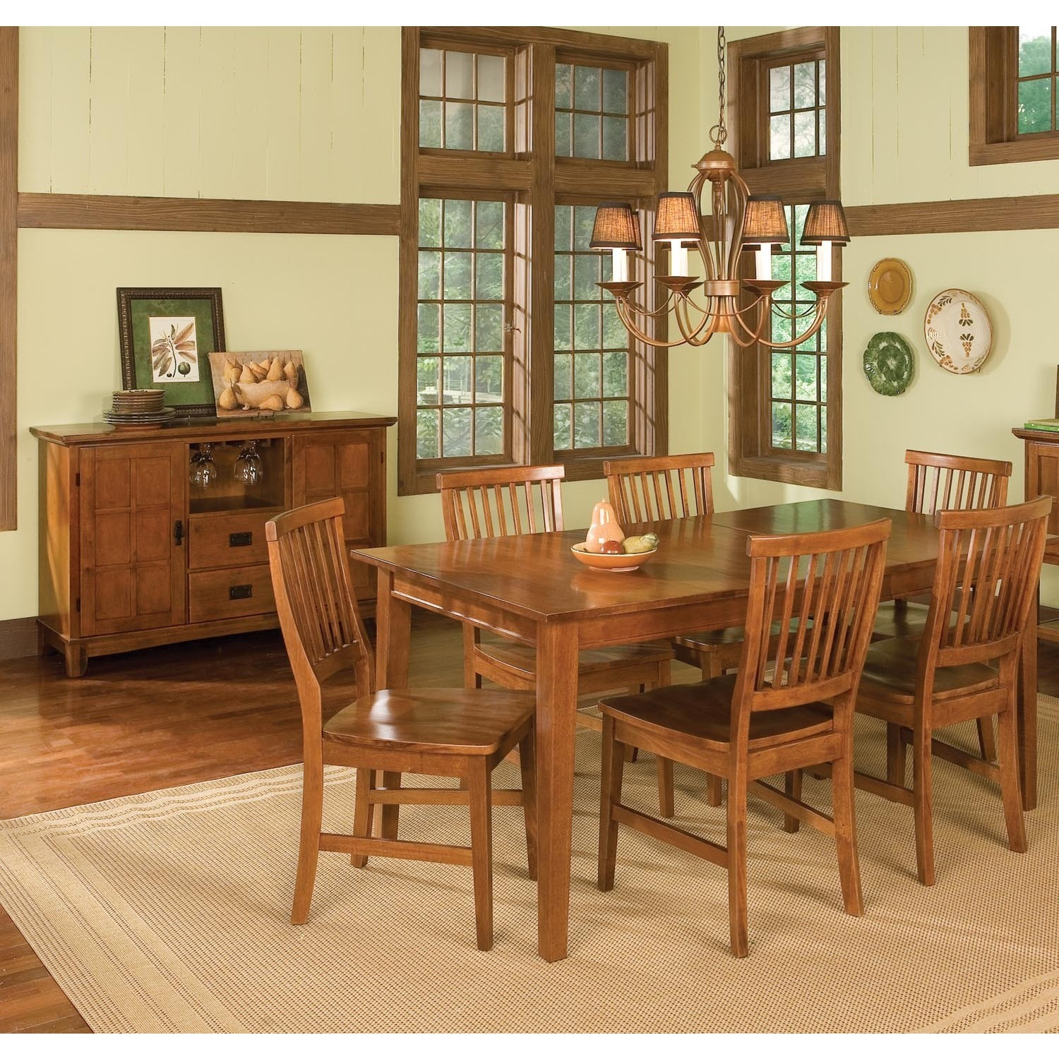 shop arts and crafts 7 piece rectangular dining set by home styles free shipping on orders. Black Bedroom Furniture Sets. Home Design Ideas