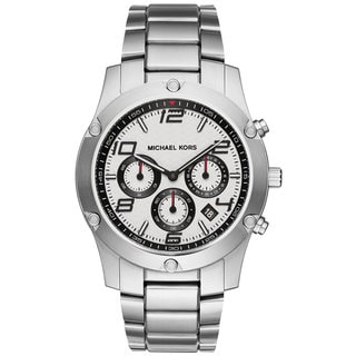 Michael Kors Men's MK8472 Caine Chronograph White Herringbone Dial Silver-Tone Stainless Steel Bracelet Watch