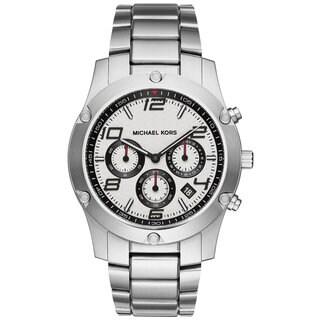 Michael Kors Men's MK8472 Caine Chronograph White Herringbone Dial Silver-Tone Stainless Steel Bracelet Watch