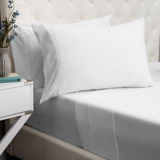 Rizzy Home All American Hemstitch 400 Thread Count Solid Cotton White Sheet Set