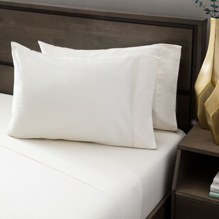 Rizzy Home Atlas Hemstitch 400 Thread Count Solid Cream Cotton Sheet Set