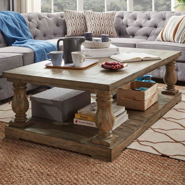 Shop Edmaire Rustic Pine Baluster 55 Inch Coffee Table By Inspire Q