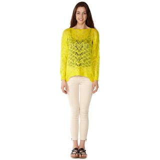 Dinamit Junior Loose Open Knit Yellow Pullover Sweater
