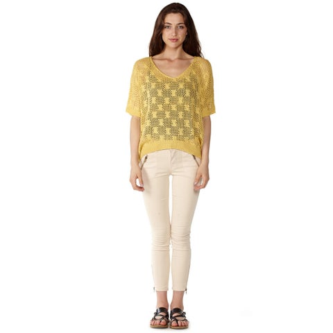 Dinamit Women's V-Neck Cotton Knit Crochet Batwing Sweater