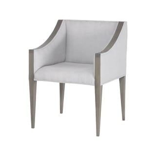 Dimond Home Ashley Side Chair In Waterfront Grey Stain With Morning Mist Linen Upholstery