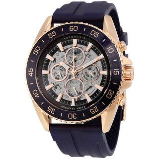 Michael Kors Men's MK9025 JetMaster Automatic Multi-Function Skeleton Dial Blue Silicone Watch
