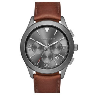 Michael Kors Men's MK8471 Gareth Chronograph Grey Dial Brown Leather Watch