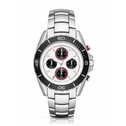Michael Kors Men's MK8476 JetMaster Chronograph White Dial Silver-Tone Stainless Steel Bracelet Watch