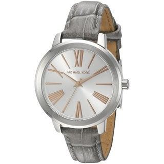Michael Kors Women's MK2479 Hartman Silver Dial Grey Leather Watch