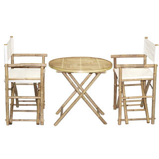 Handmade Bamboo54 Bamboo Bistro Director's Chairs and Round Table Set (Vietnam)