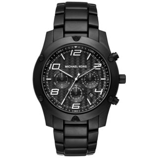 Michael Kors Men's MK8473 Caine Chrongraph Black Herringbone Black Dial Black Stainless Steel Bracelet Watch