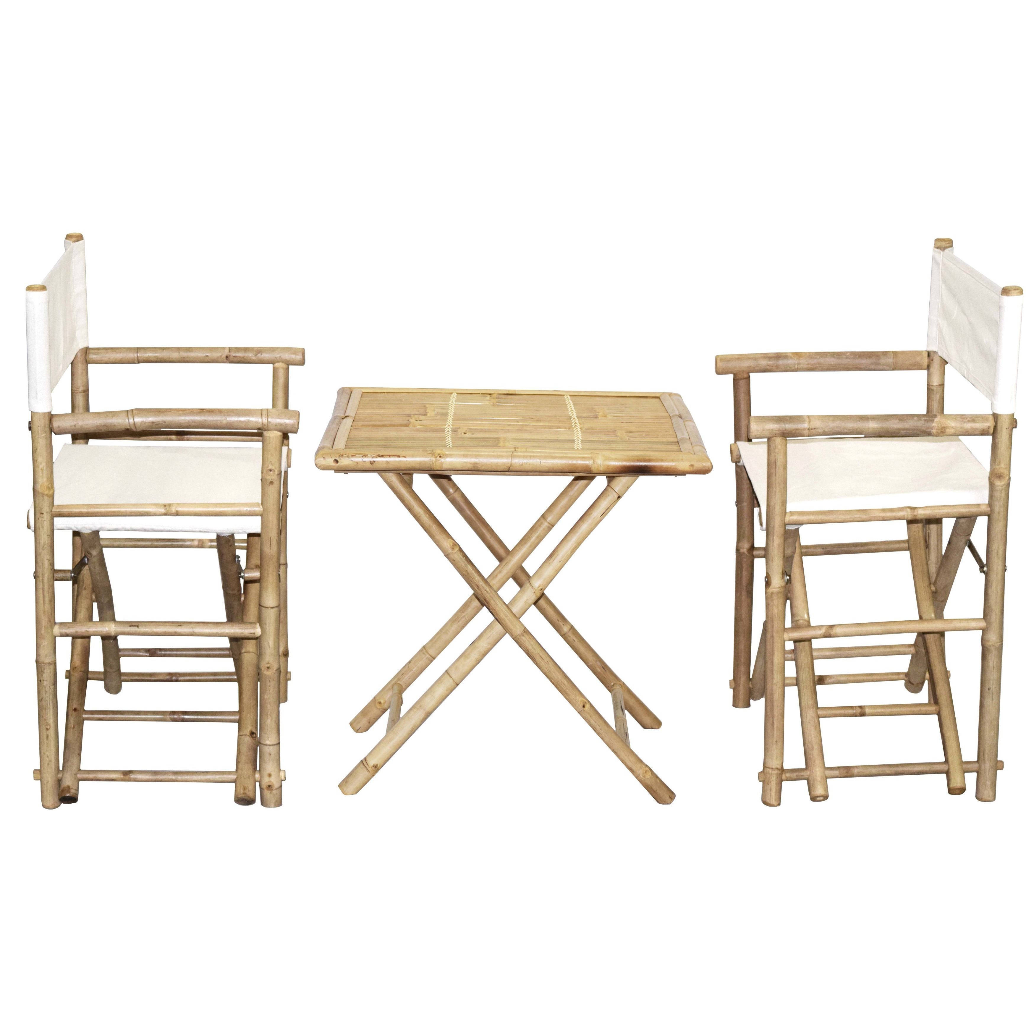 Handmade Bamboo Bistro Director\'s Chairs and Square Table Set ...