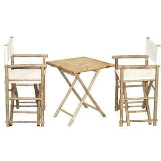 Bamboo Bistro Director's Chairs and Square Table Set (Vietnam)