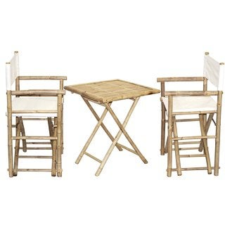 Handmade Bamboo Bistro Director's Chairs and Square Table Set (Vietnam)