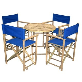 Bamboo Bistro Round Table and 4 Director's Chairs Set (Vietnam)