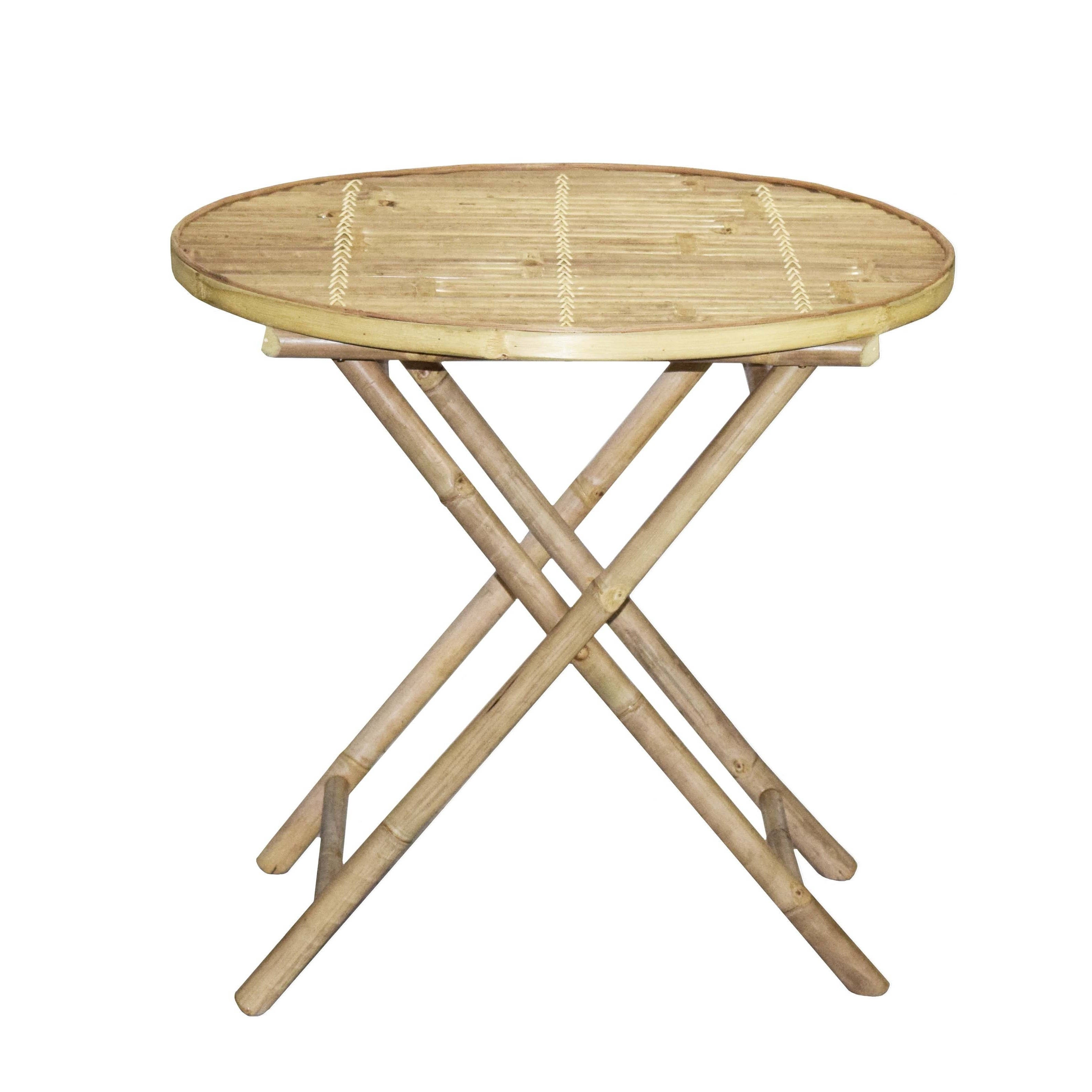 Handmade Bamboo Bistro Round Table And 4 Director