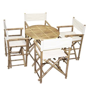 Handmade Bamboo Bistro Round Table and 4 Director's Chairs Set (Vietnam)