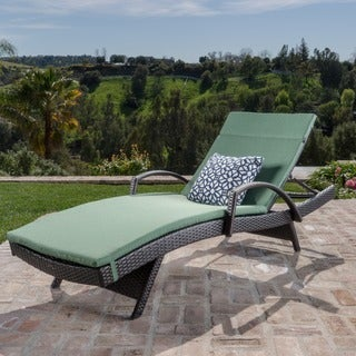 Toscana Outdoor Wicker Armed Chaise Lounge Chair with Cushion by Christopher Knight Home
