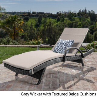 Toscana Outdoor Wicker Armed Chaise Lounge Chair with Cushion by Christopher Knight Home (2 options available)