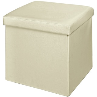 Ivory Faux Leather Cushion-top Foldable Storage Ottoman