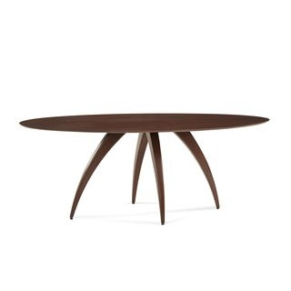 Saloom Ella Ellipse Maple Strata Texture Top Custom Dining Table in Walnut Finish
