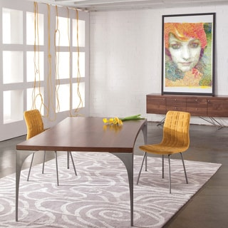 Saloom Grace 36 x 72-inch Concave Black Walnut Dining Table with Chrome Steel Finish