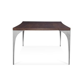 Saloom Grace 44 x 94-inch Concave Black Walnut Dining Table with Chrome Steel Finish
