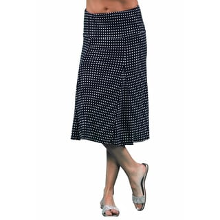 24/7 Comfort Apparel Women's Polka-Dot Calf-Length Skirt
