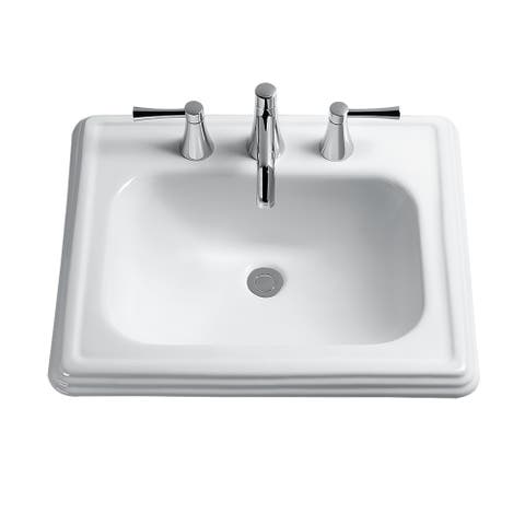 Toto Promenade Rectangular Self-Rimming Drop-In Bathroom Sink for 8 Inch Center Faucets, Cotton White (LT531.8#01)