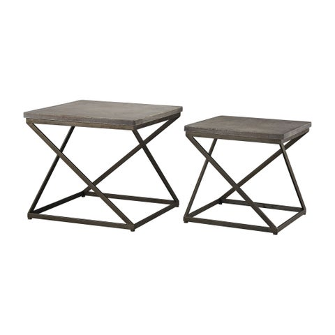 Dimond Home Moya Aged Iron Set of 2 Metal and Concrete Accent Tables
