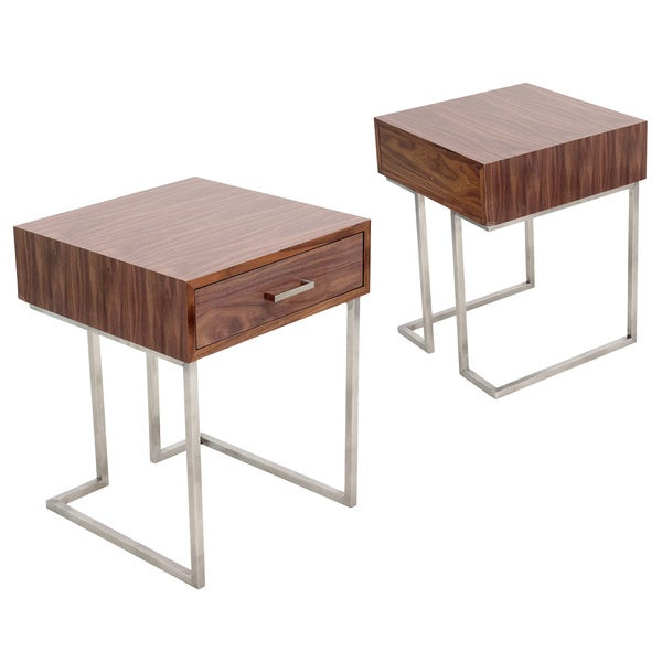 Roman Contemporary Walnut Wood and Stainless Steel End Table with Drawer. Roman Contemporary Walnut Wood and Stainless Steel End Table with