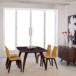Saloom Kira 42 x 72 Rectangular Maple Strata Texture Top Dining Table in Java Finish