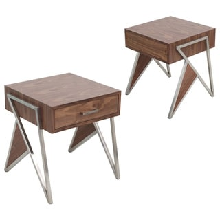 LumiSource Tetra Contemporary Walnut Wood and Stainless Steel End Table