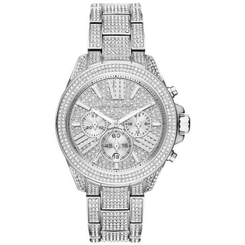 Michael Kors Women's MK6317 Wren Chronograph Crystal Pave Dial Crystal Pave Stainless Steel Bracelet Watch