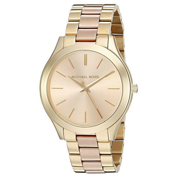 Michael Kors Women's MK3493 Slim Runway Rose-Tone Dial Two-Tone Stainless Steel Bracelet Watch