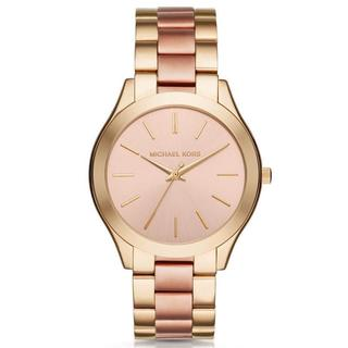 Michael Kors Women's MK3493 Slim Runway Rose-Tone Dial Two-Tone Stainless Steel Bracelet Watch