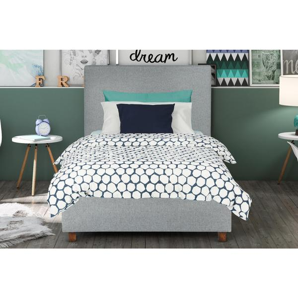 Dhp Alexander Light Grey Upholstered Twin Bed Free