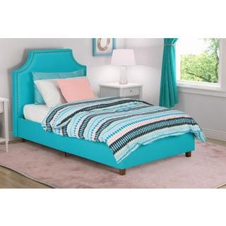 DHP Melita Teal Linen Upholstered Twin Bed