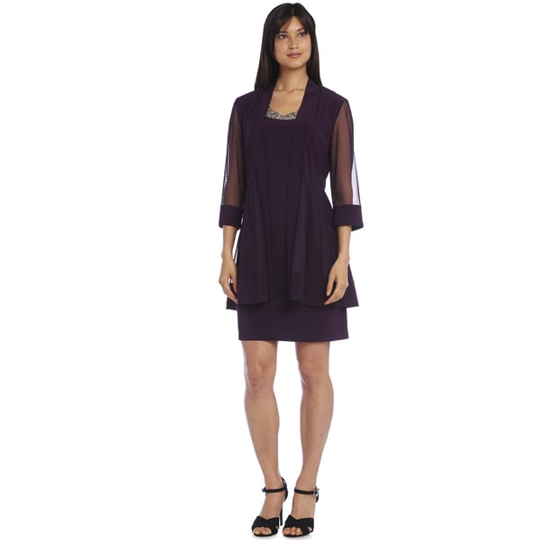 R&M Richards Plum Bead Jacket Dress