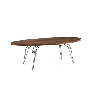 Saloom LEM 42 x 80-inch Ellipse Black Walnut Dining Table with Natural Steel Finish