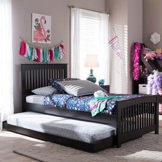 Baxton Studio Josias Twin Size Dark Brown Solid Wood Platform Bed with Guest Trundle Bed